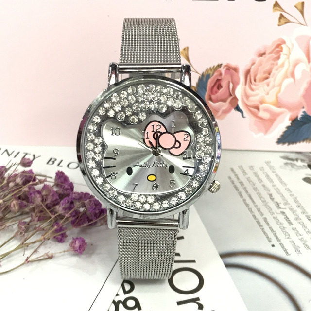 413944bc7 2019 New hot cake Hello Kitty Diamond steel band Girl Lady Women Watch  Fashion Casual Beautiful