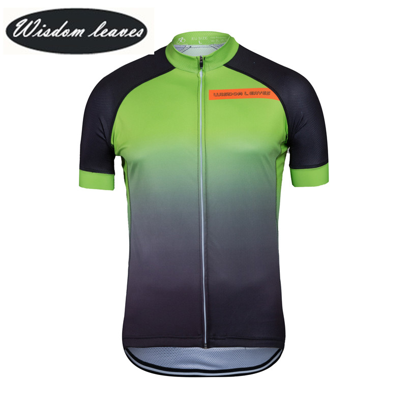 Sabiduría hojas 2017 diseñador marca hombres profesional ciclismo Jersey mujeres de manga corta ropa de la bici motocross OEM
