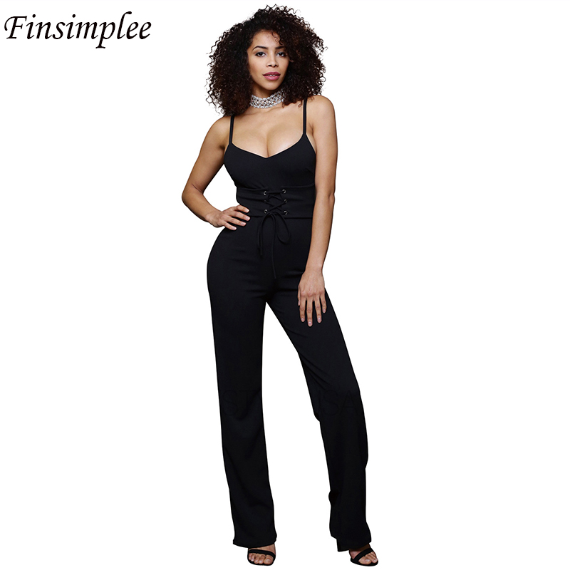 Spaghetti Strap Bandage Casual V Neck Sashes Jumpsuits Solid Sleeveless Backless Full Length Black Work Rompers Summer Jumpsuits