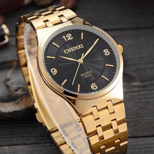 ca1bdf84d743 Оригинальный CHENXI золотые часы Для мужчин 2018 лучший бренд класса люкс  известный золотые часы Мужские кварцевые часы наручные кварцевые часы  Relogio ...