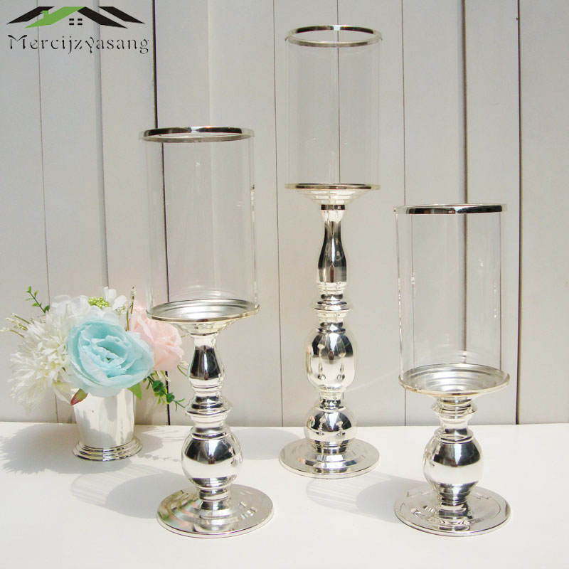 3Pcs Lot New Metal Silver Finish Candle Holders With Glass Stand Pillar Candlestick For Wedding Decoration