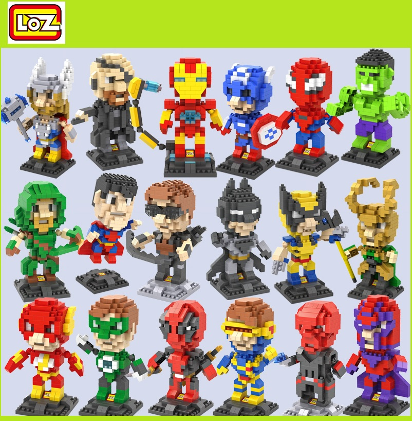 LOZ Micro Blocks Deadpool Auction Figures Ironman DIY Building Toys Batman Bricks Thor Juguetes The Flash Small Blocks Kids Gift radio-controlled car