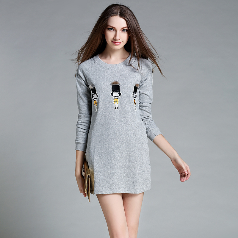 2017 Autumn New Loose Long-sleeved Short Paragraph Dress Small Pattern Plush Decorative Round Neck Dress AXD005