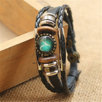 Fashion Punk Men Jewelry 12 Horoscope Leather Bracelet Retro Wooden Bead Charm Bracelet Female Male Jewelry Gifts Wholesale 4