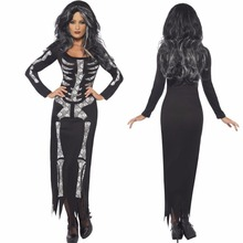 2018 New halloween dress Costume Horror skeleton dress Ghost clothing performance clothing party witch Devil woman tight dress