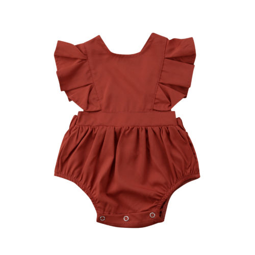 Toddler Baby Kid Girl Clothing Sleeveless Ruffle Tops Jumpsuit Bodysuit Backless Clothes Bay Girls 0-12M