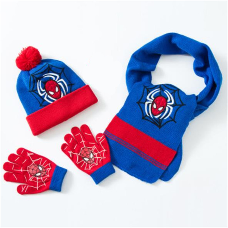 Halloween Gifts Boy Child Anime Spiderman Winter Knit Cap Scarf Gloves Quality Christmas New Year Dress
