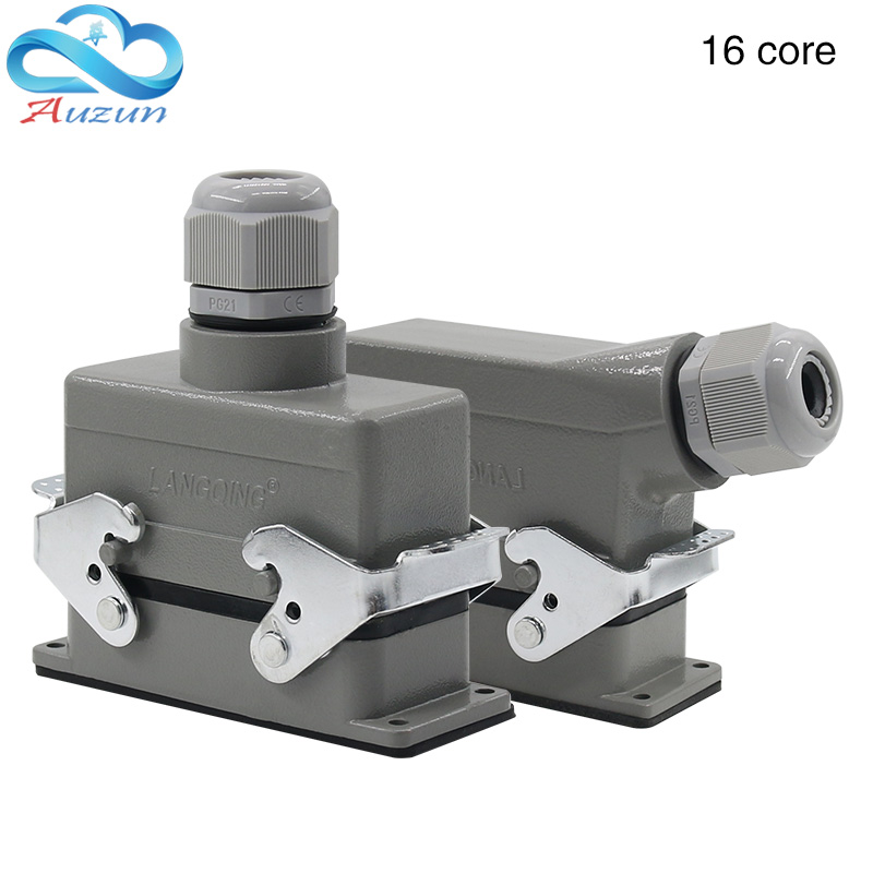 Rectangular H16B - HE - 016-1 heavy 16 pin connector line 16 a500v screw feet of aviation plug on the side