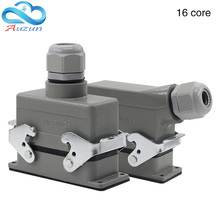 Rectangular H16B - HE 016-1 heavy 16 pin connector line a500v screw feet of aviation plug on the side
