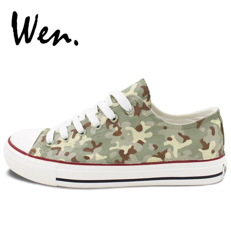 Toile La Chaussures Casual Top Spéciales Unisexe Low Personnalisé Design Forces Camouflage Original Motif Sneakers Wen Présente Peint À Main wOXn0P8k