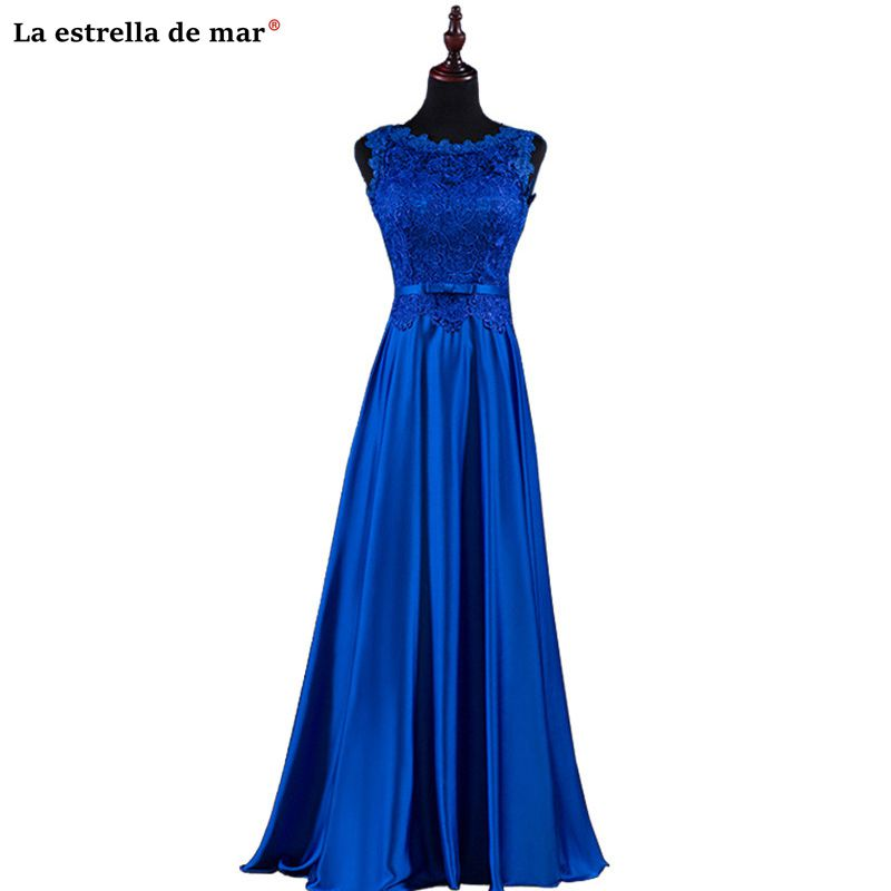 Vestido madrinha2019 new lace backless A Line royal blue burgundy   bridesmaid     dresses   long robe demoiselle d'honneur cheap sukien