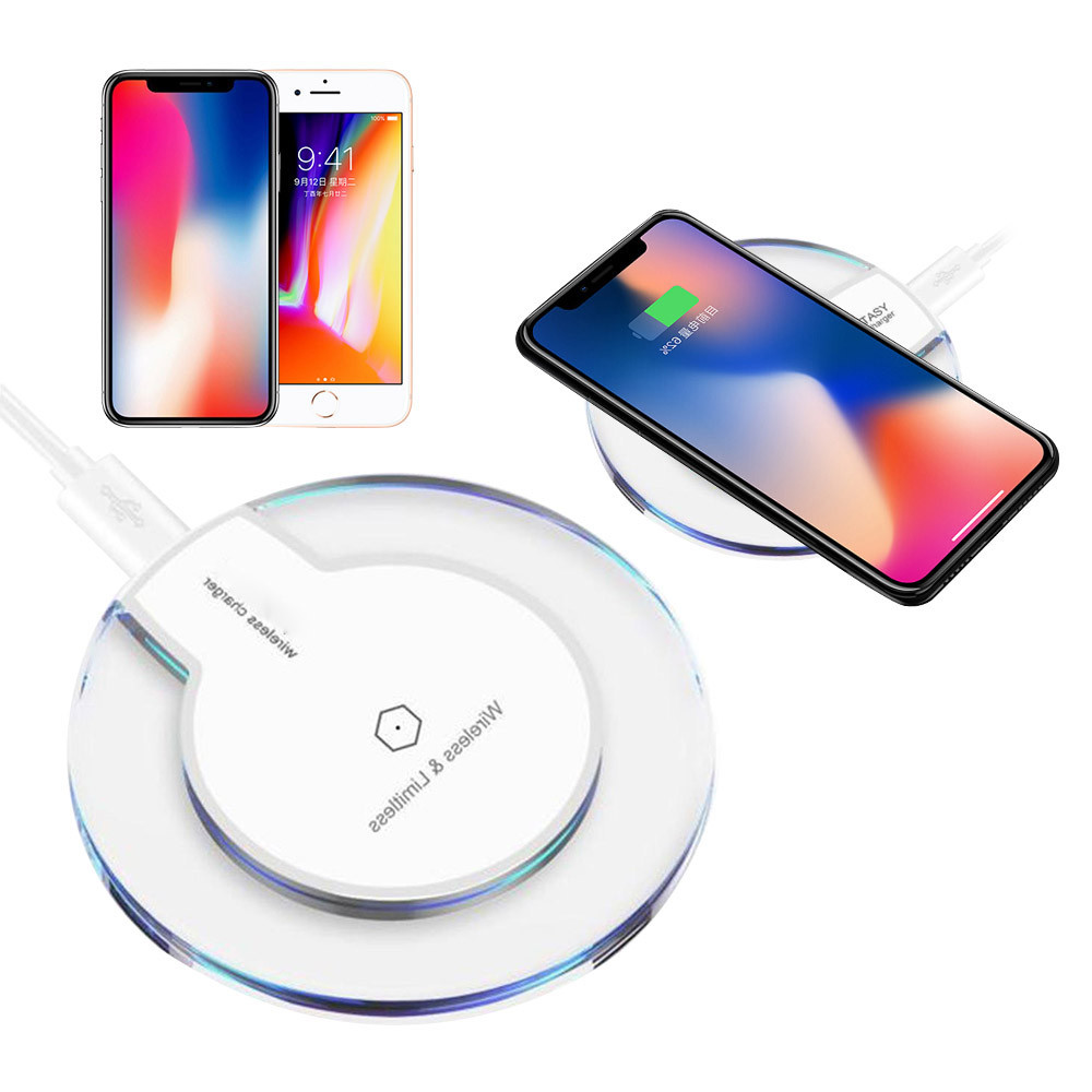 New Style Clear Qi Wireless Charger Charging Pad for IPhone 8/iPhone 8 Plus Battery Universal Phone Charger
