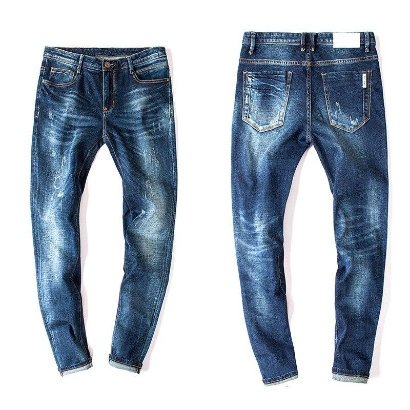 Mens Skinny Jeans Men 2016 Runway Distressed Slim Fit Elastic Denim Biker Jeans Pants Washed Dark Blue Jeans For Men 082