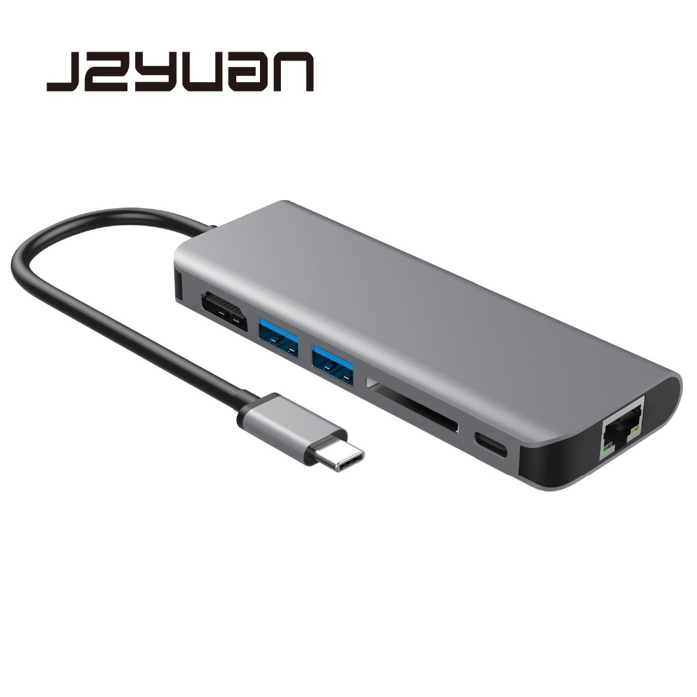 цены JZYuan USB Type C 3.1 HUB Multiport Type C PD Charging RJ45 Gigabit Ethernet USB 3.0 HDMI 4K Card Reader HUB Adapter for MacBook