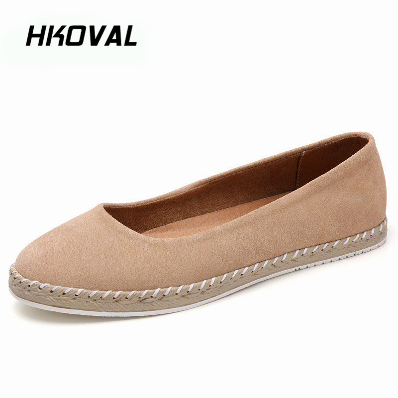 HKOVAL Women Shoes Sneaker Loafers Casual Flats Oxfords Mocassins Genuine   Leather   Shoe Ballet Footwear   Suede   Laides Large Size