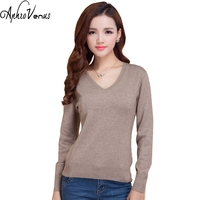 Sweater Women Pullover PlusSizeV Neck Cashmere Sweater Female Wool Pullover Genuine Solid Color Slim Pullover Women