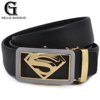 Hello Guo Waist Belt Male Superman Symbol Diamond Shape Automatic Hide Buckle Cowskin Leather Strength Men