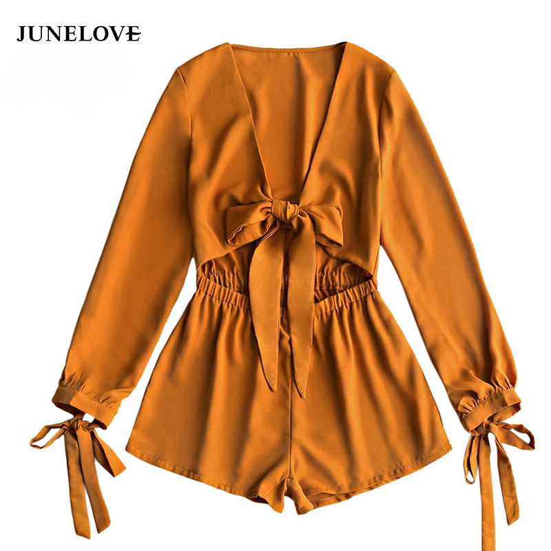 JuneLove 2018 summer bow tie women sexy jumpsuit lace up sleeves female playsuit beach ladies v neck rompers