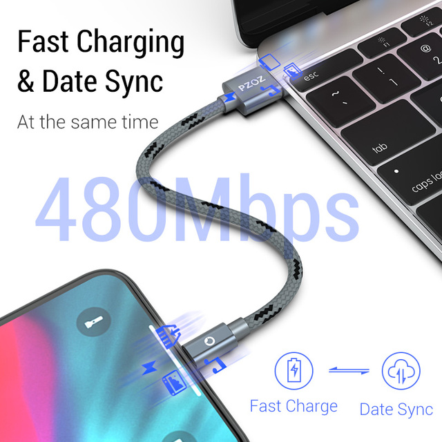 PZOZ usb cable for iphone cable 11 pro max Xs Xr X 8 7 6 plus 6s 5 s plus ipad mini 4 fast charging cables mobile phone charger 2