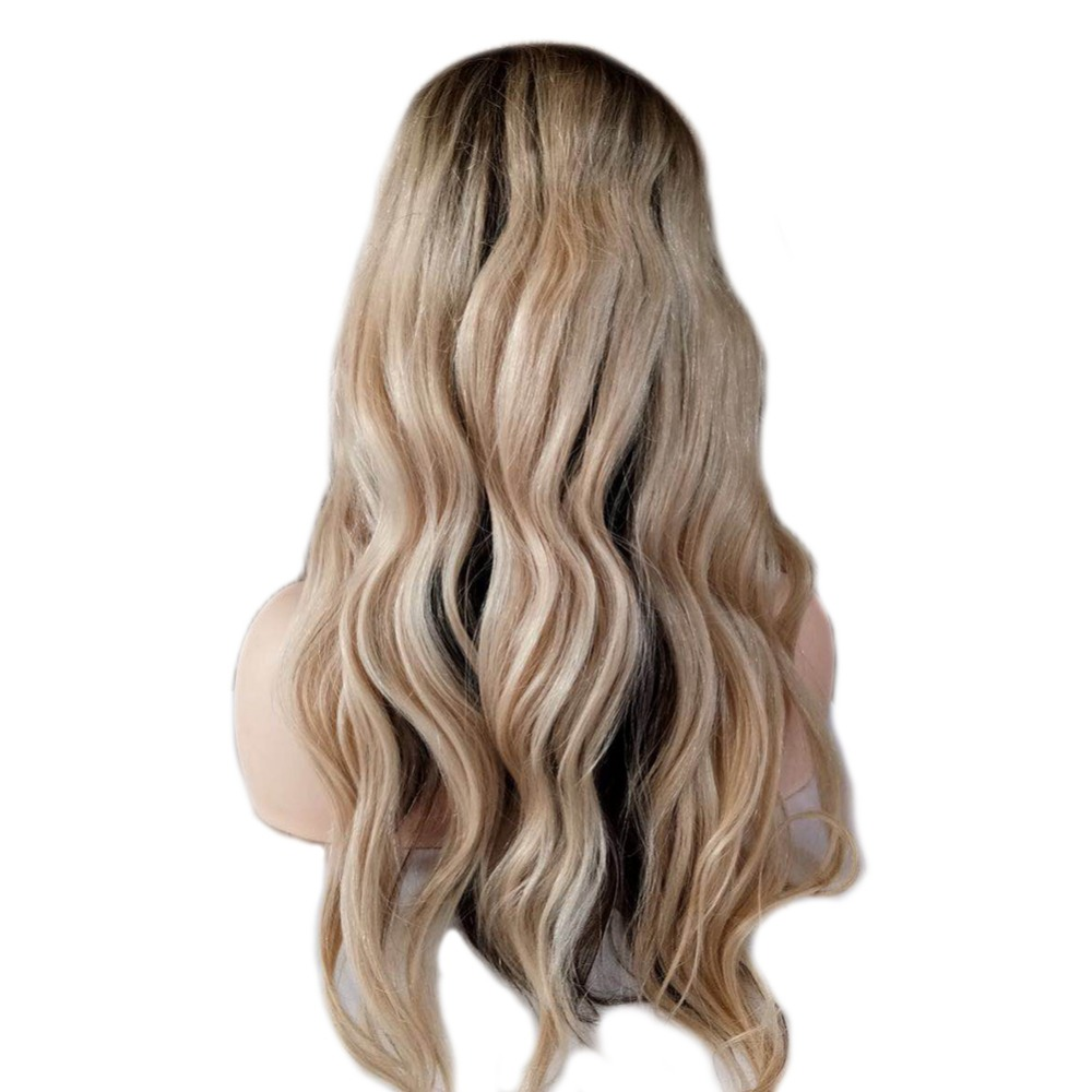 Full Shine Balayage Lace Front Hair Wig Ombre #4 Fading To 613 Blonde Machine Remy Human Hair Lace Front Wig With Baby Hair