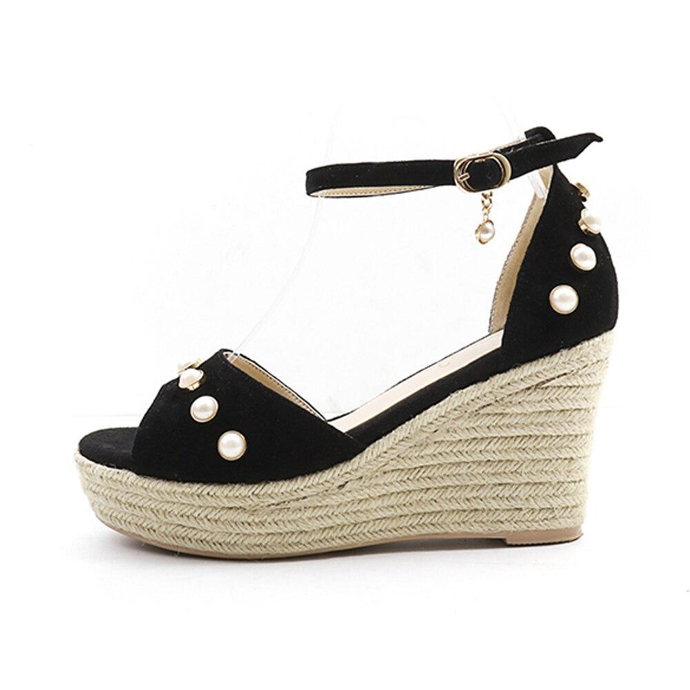 Moda Las Señoras Femenino Perlas Fiesta Plataforma Zapatos Correa Sandalias Tacones  Meotina De 39 Cuña Tobillo Mujeres ... e477f3320ae4