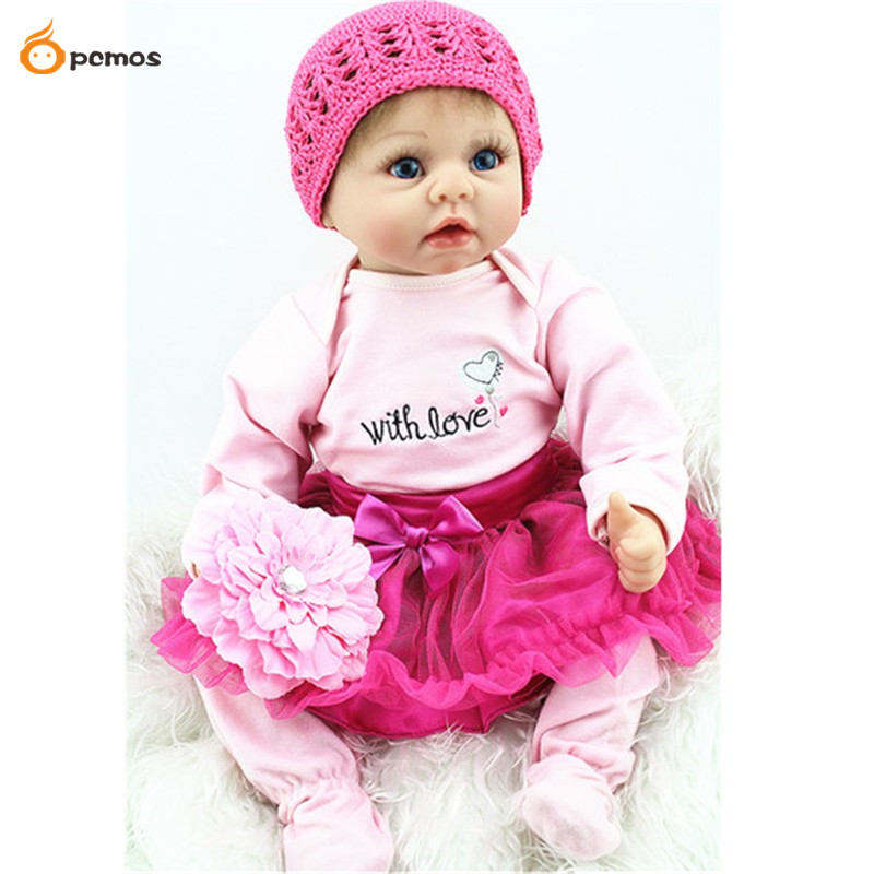 55cm/22 Handmade Reborn Baby Doll Newborn Lifelike Dolls Soft Silicone Vinyl Girl Toy Gift Collection ...