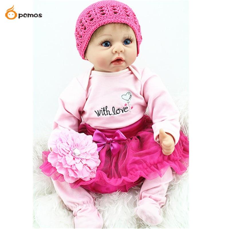 55cm/22 Handmade Reborn Baby Doll Newborn Lifelike Dolls Soft Silicone Vinyl Girl Toy Gift Collection ...