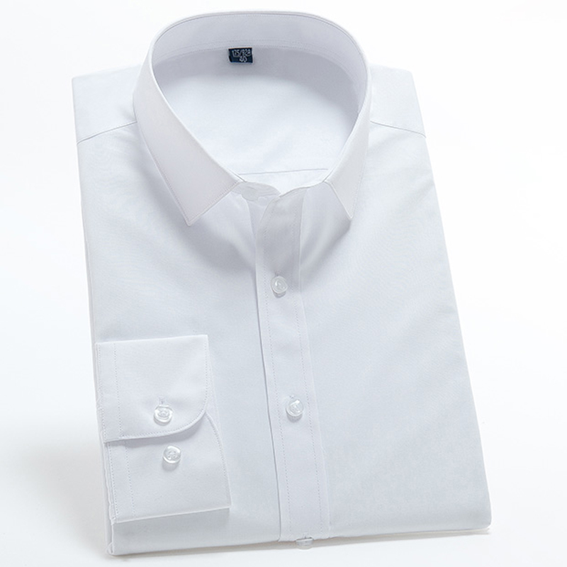 Men's Long-sleeve Slim-fit White Basic Shirts without Pocket Premium Quality Mat