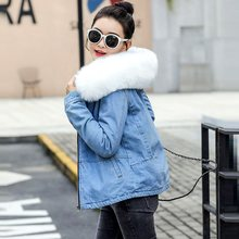 Big Faux Fur Collar Winter Jacket Women Long Sleeve Denim Jackets Wool Liner Jeans Coat female Velvet Warm Jaqueta Hoodies(China)