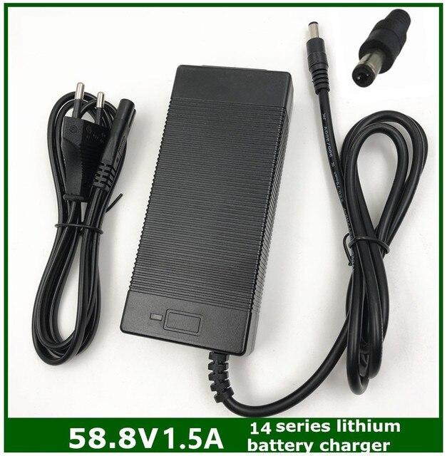 Cargador de batería de litio para bicicleta eléctrica, cargador de batería de litio de 58.8V1.5A, 58,8 1.5A V, para Serie 14, cargador de 58.8V1.5A