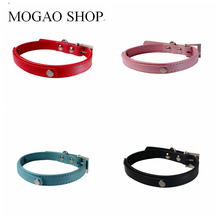 3a99b1406a77 Smooth Leather dog collar Personality Pet Collar DIY Cat Name Neck Necklace  ,Can Wear 10mm