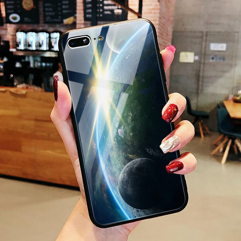 TOMKAS Luxury Space Cover Case for iPhone X Xs Max Xr Xs Glass Silicone Phone Case for iPhone 7 8 Plus Cases for iPhone 6 S 6s (6)