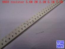0603 F SMD resistor 1/10W 5.6M 2M 2.2M 5.1M 7.5M ohm 1% 1608 Chip resistor 500PCS/LOT