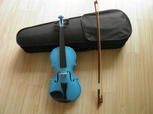chilren practicing blue violin 4/4 3/4 1/2 1/4 1/8 with bow and case for learner(China)