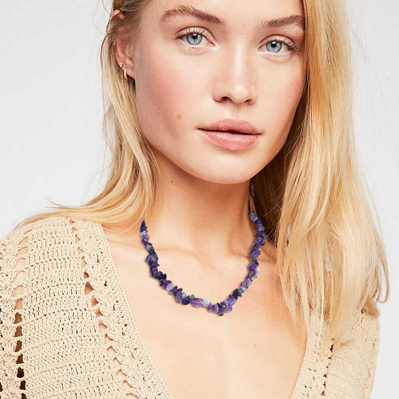 Yumfeel Brand New Natural Stone Choker Necklace Handmade Amethyst Chips Rose Quartz Lapis Coral Crystal Necklace Women Jewelry