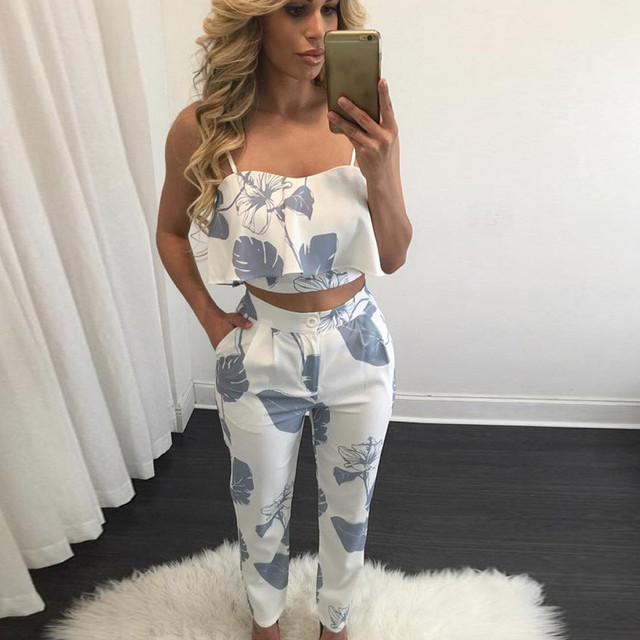 Horizontal neck Printed Spaghetti Top and full length pants Wrapped Sling chest zipper sleeveless Flounced Woman 2 Piece set