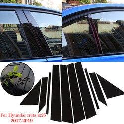 Pilar de coche adhesivo negro para Hyundai Creta ix25 2017-2019 decoración de ventana moldura accesorio de repuesto