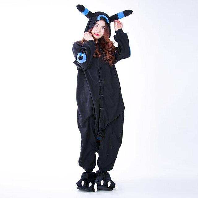 8db108a39fb8 Cosplay Anime Blue Shiny Umbreon Pokemon Onesie Halloween Costumes Adult  Women Men Pajamas Jumpsuit Romper Fleece
