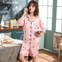 Plus Size 3XL Pink Satin Women Pajamas Rayon Three Quarter Turn down Collar Nightgown Casual Female Sleepwear 2019 Summer New
