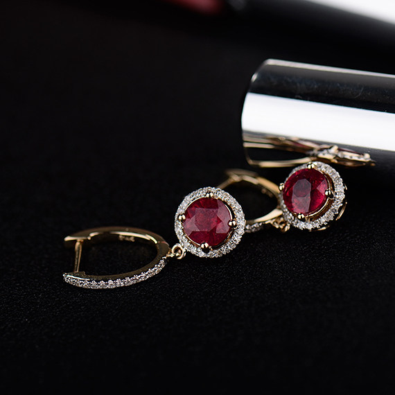 4 26ct Solid 14kt Yellow Gold Diamond Red Ruby Earrings For Women S Wedding Jewelry E0003ab