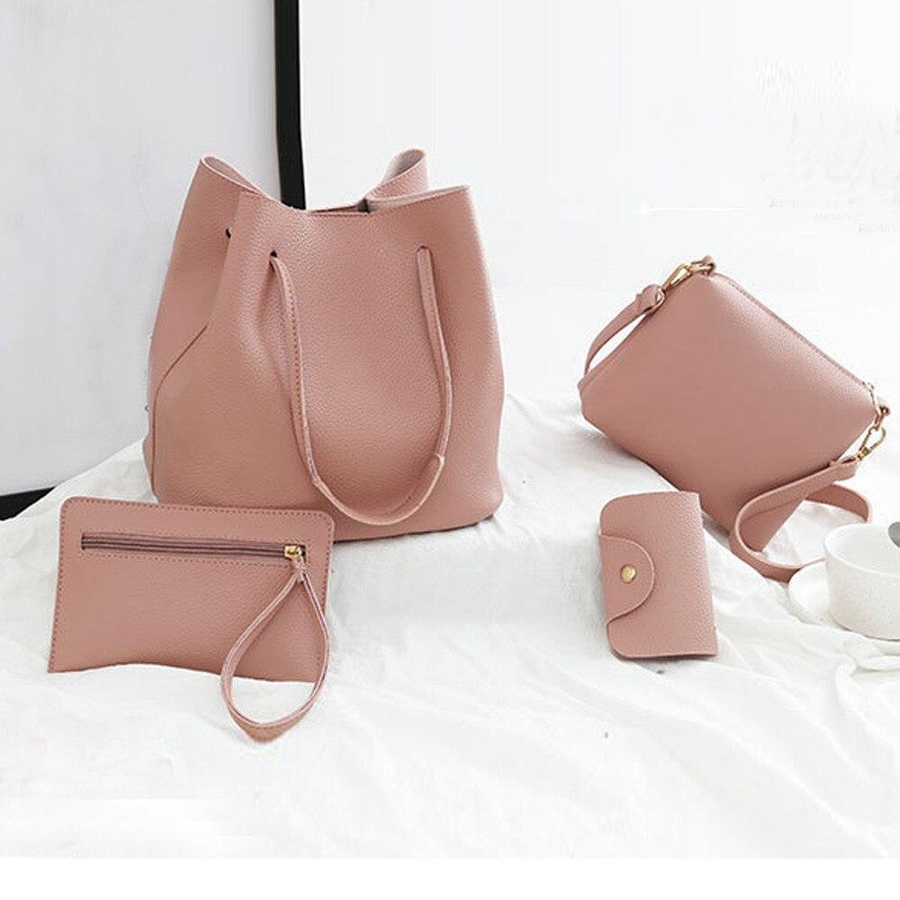 4Pcs Women Pattern Leather Handbag+Crossbody Bag+Messenger Bag+Card Package Solid Zipper Elegant Solid Color Ladies Handbags Set