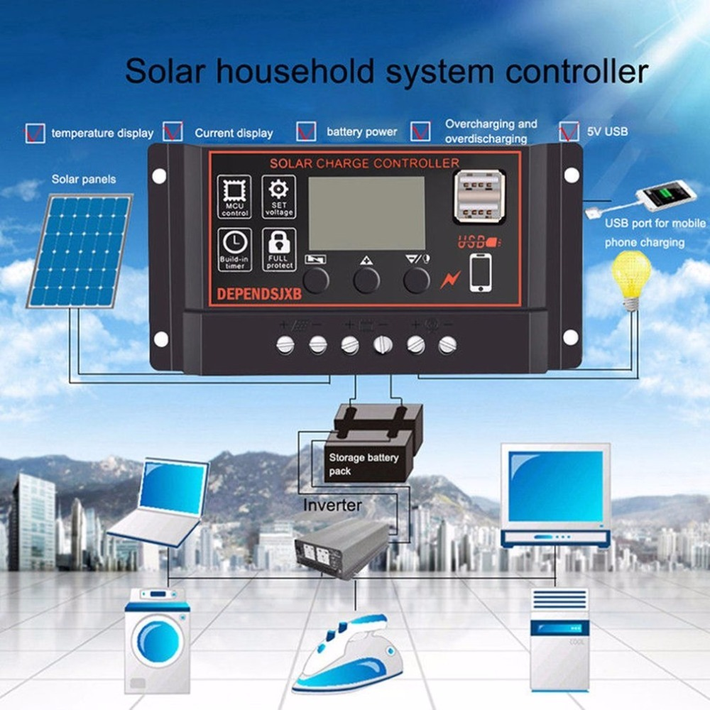 Tragbare <font><b>20A</b></font> für Amp Solar Panel Batterie Regler Solar Ladegerät Controller mit Digital LCD Screen Display 12/<font><b>24V</b></font> auto USB image