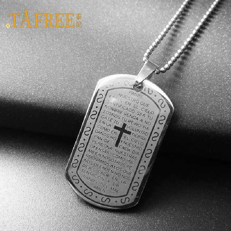 TAFREE Charm Necklaces Pendants Christian Jewelry Bible Lords Prayer Dog Tags  Stainless Steel Necklace For Men Gift SQ095