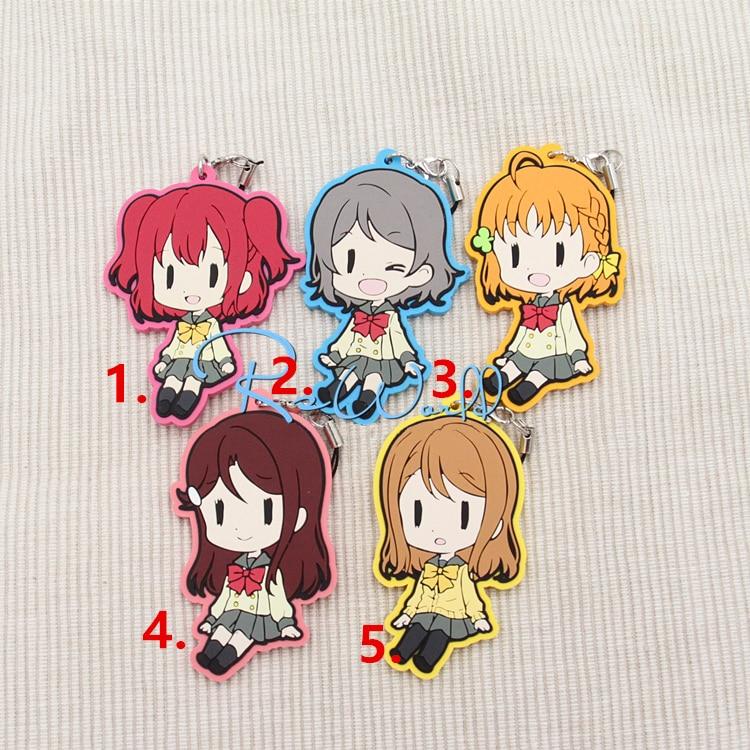 Love Live Lovelive Sunshine Anime Watanabe You Ruby Riko Hanamaru Kunikida Chika Aqours Rubber Keychain i love you love heart shaped keychain red