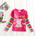 1-5Y Niñas de Manga Larga T-shirt Niños Cerdo Lindo de la Historieta Tops Camisetas de los Bebés del Arco Iris Chevron Bebés Arropa 81173