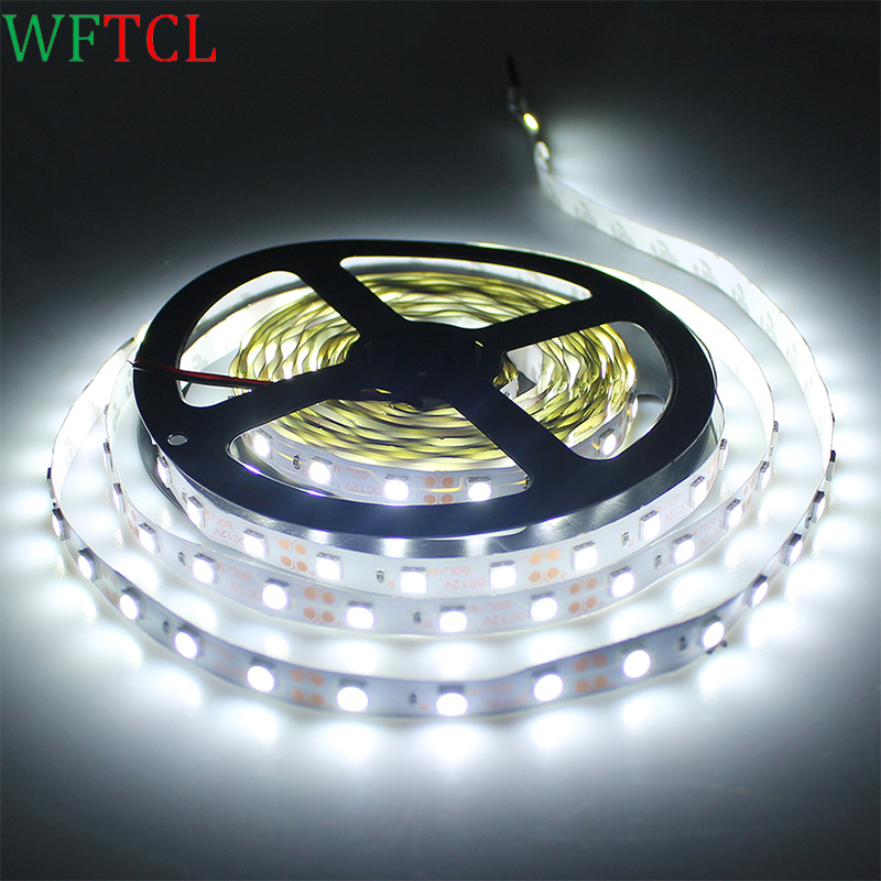 WFTCL LED Strip Light 5m 300 SMD LED White Non-waterproof 12Volt, Indoor Party Christmas Holiday Festival Celebration Decoration
