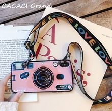 3D Vintage Camera Phone Case For Asus Zenfone Max Pro M1 ZB601KL Case Retro Silicon TPU Cute Grip stand Cover Capa with Strap