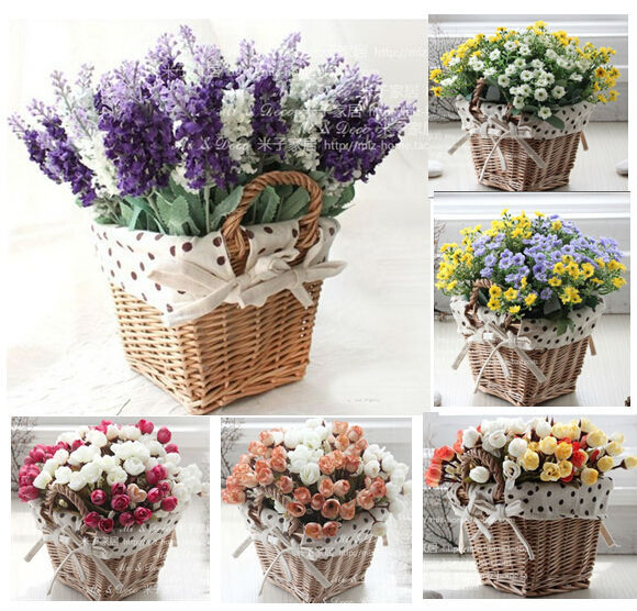 Buy rattan square storage basket vase with lavender rose artificial flower home - Flowers for home decor photos ...
