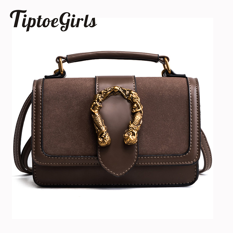 New Korean Version of the Simple Wild Frosted Hit Portable Shoulder Small Square Retro Personality Lock Buckle Messenger Bag