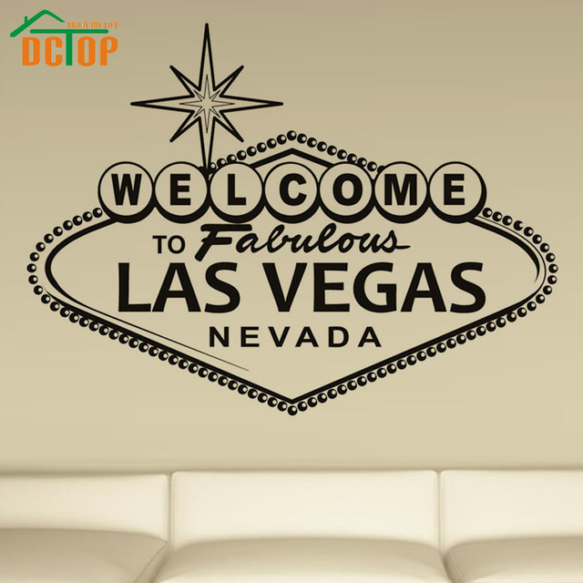 Dctop welcome to fabulous las vegas art wall sticker english character vinyl home decorative wall decal